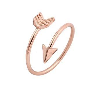 Rose Gold open arrow ring VSCO boho bohemian